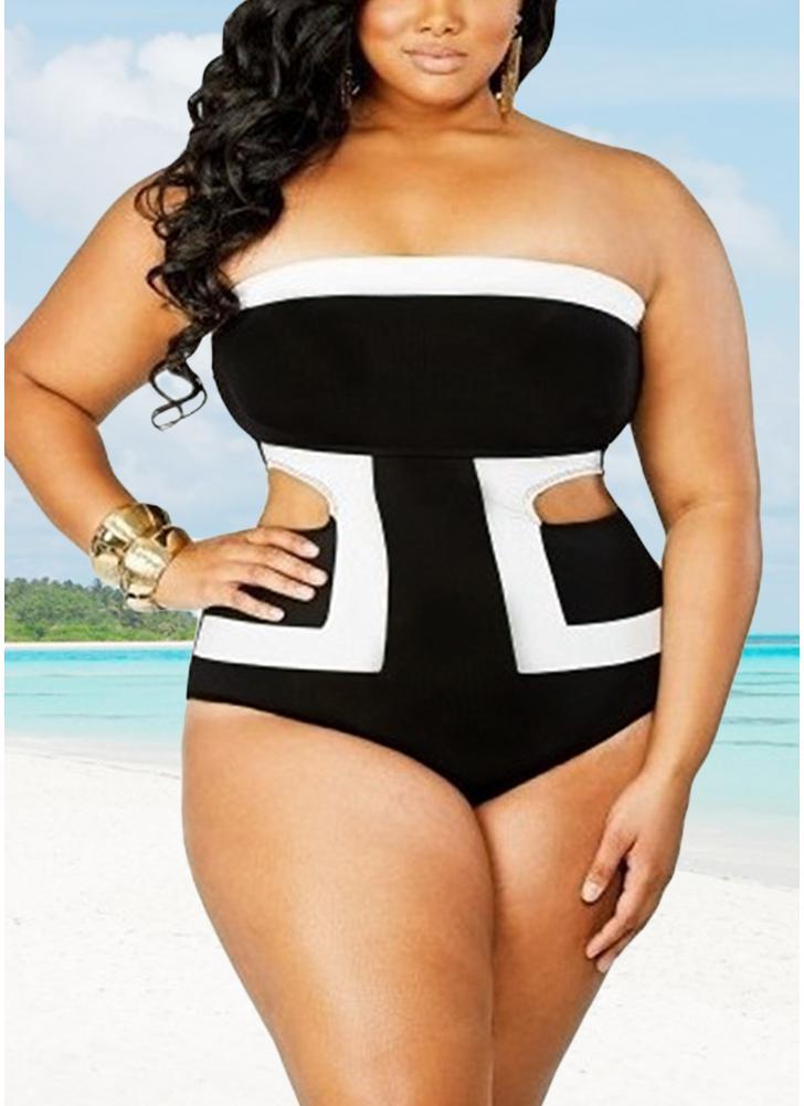 Plus Size Color Splice Cut Out Swimwear One-Piece Bikini