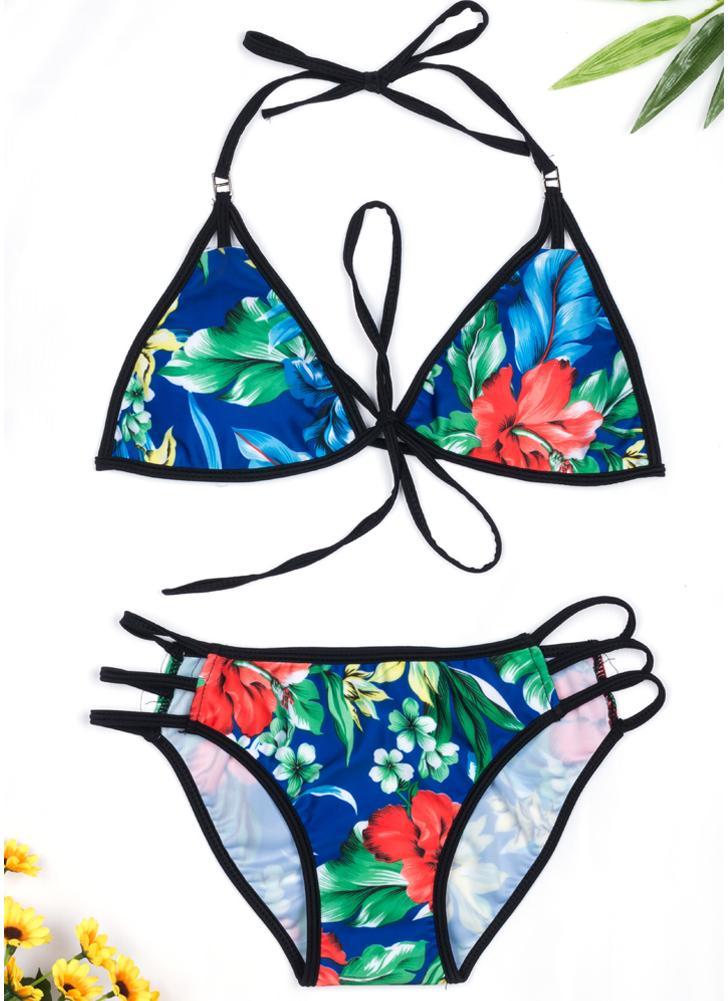 Femmes Floral Print Bikini Set Halter Cravate Maillot de bain Deux Pièces Maillots de Bain
