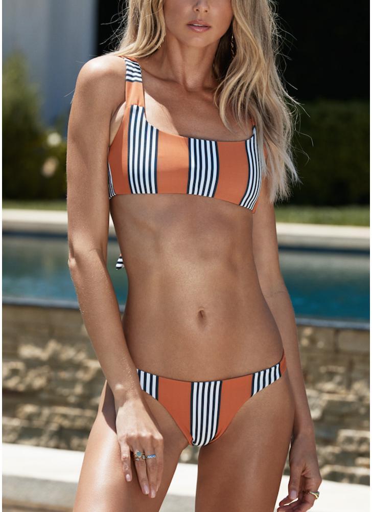 Striped Back Knot Bikini Set