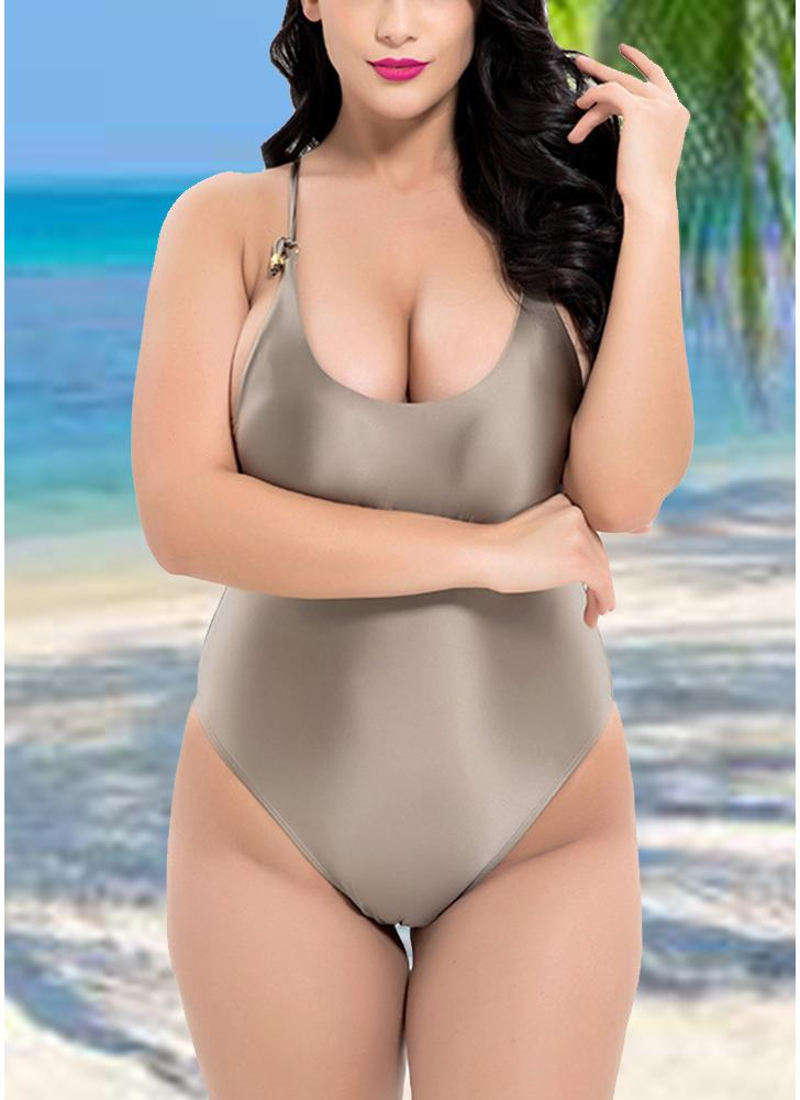 Plus Size strappy Swimsuit Backless Hollow Out One Piece