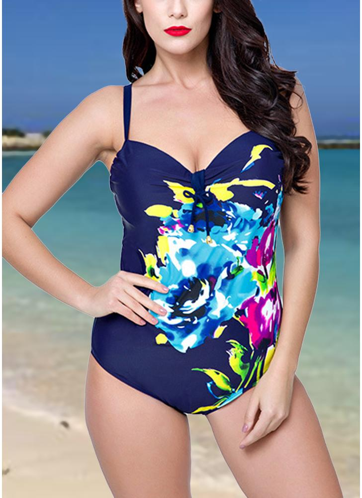 8ecef353ea6 Plus Size One Piece Swimsuit Floral Underwire Push Up Monokini