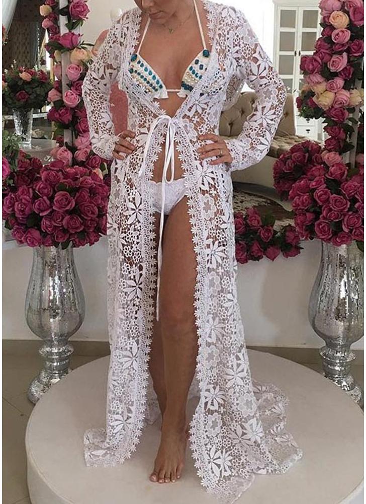 Mulheres Crochet Lace Long Cardigan Praia Bikini Cover-Up Sheer Maxi Boho Outwear