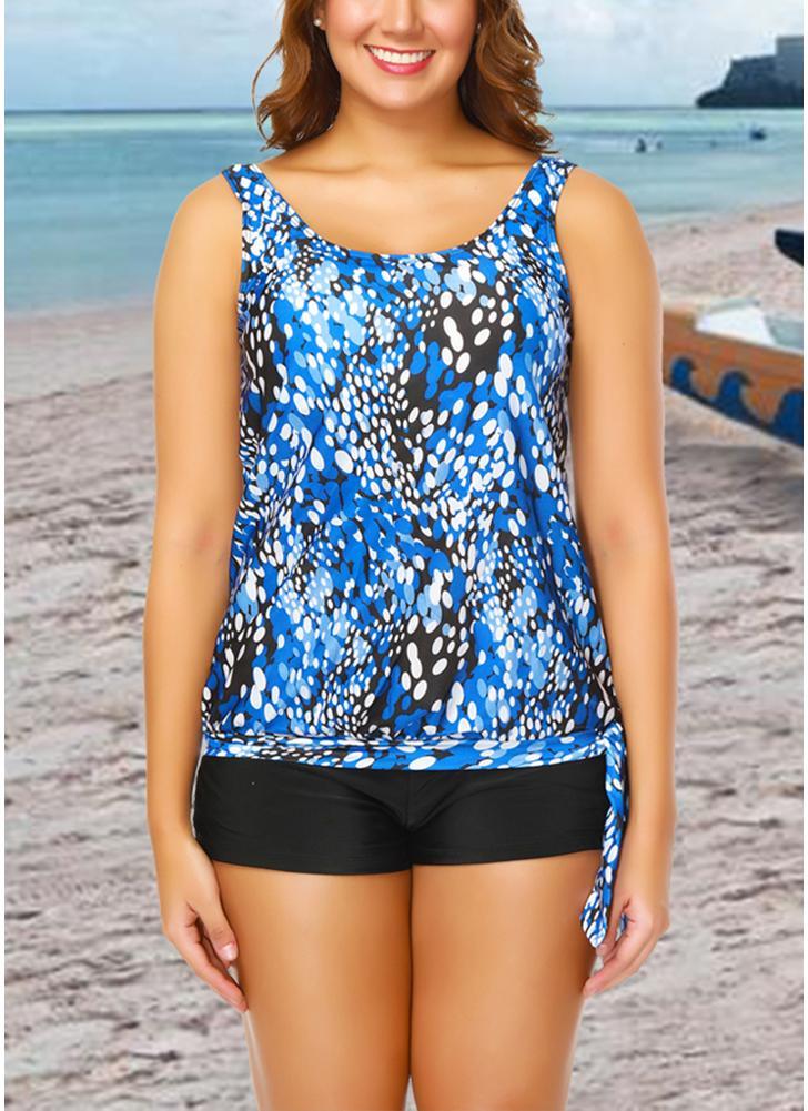 Women Plus Size Push Up Tankini Swimsuit Padded Swimwear Printed  Bathing Suit
