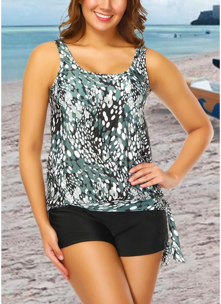 a130fb3a1ee31 Women Plus Size Push Up Tankini Swimsuit Padded Swimwear Printed Bathing  Suit