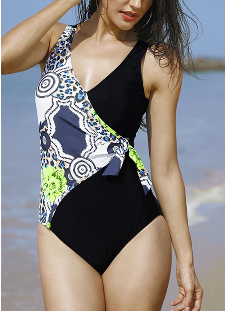 Tied Side High Waist Print Swimwear Playsuit Jumpsuit Rompers