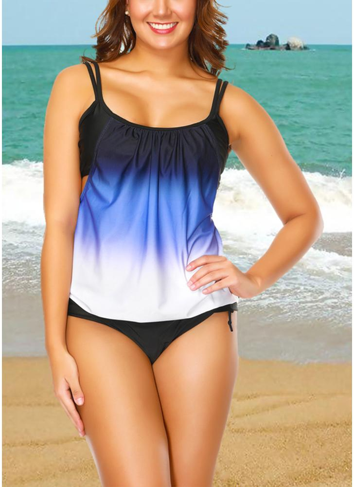 c990406443 blue 2xl Gradient Print Sleeveless Backless Padded Wireless Swimsuit -  Chicuu