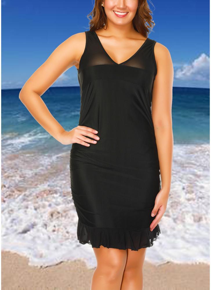Black 2xl Plus Size Mesh Dress Bottom Tankini Set Chicuu