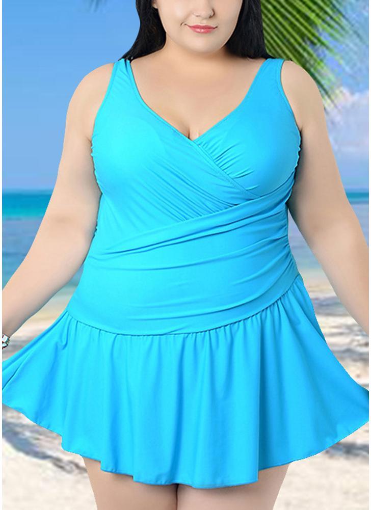 5818dafd9ce blue 2xl Plus Size Spaghetti Strap Ruffle Backless One Piece Swimsuit -  Chicuu