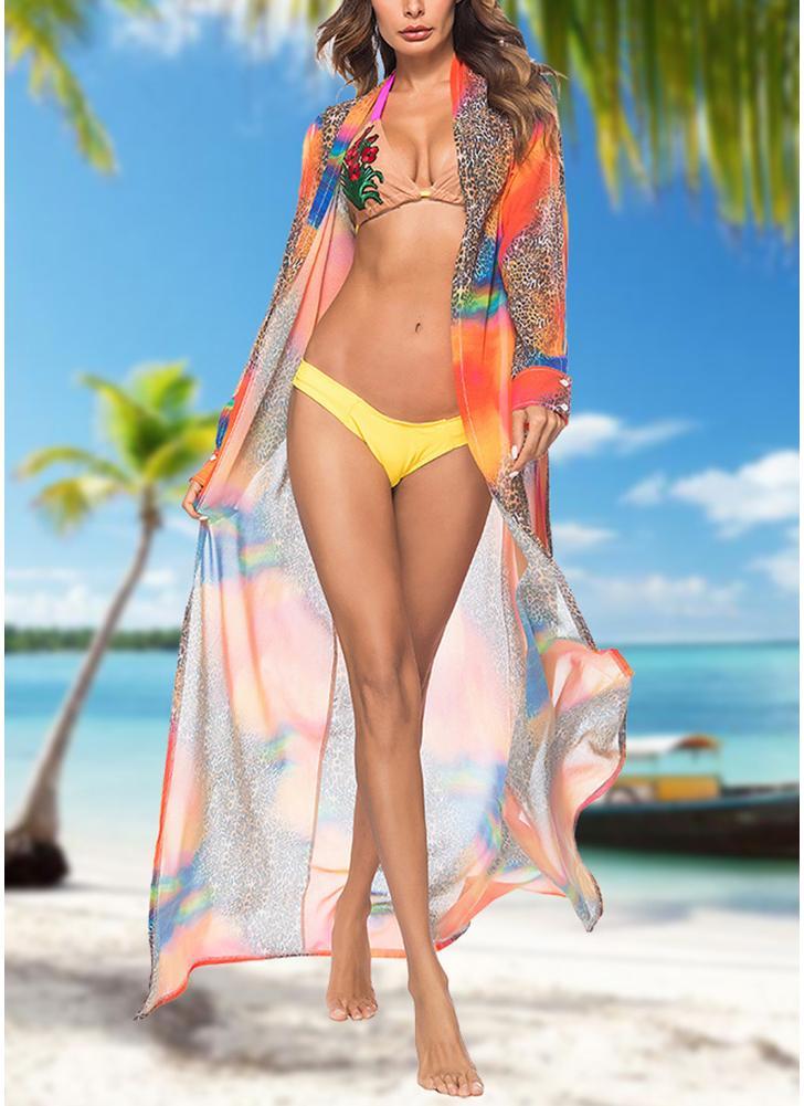 Mujeres leopardo gasa Cardigan Bikini CoverUp Beach Boho Outwear Maxi encubrimientos