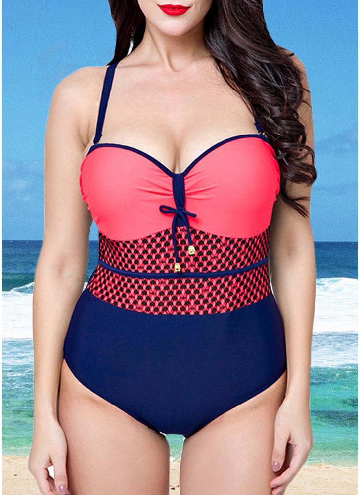 e8639f45ad99a Women Swimsuit One Piece Swimwear Color Splice Ruched Underwire Swimsuit  Beach Wear