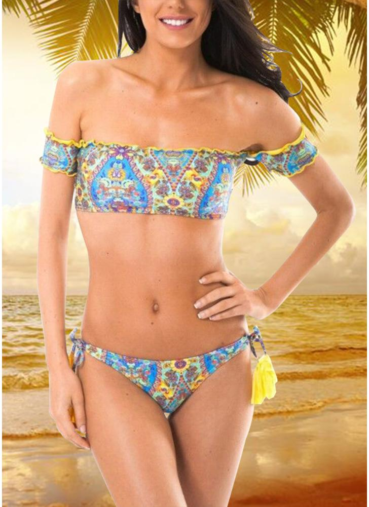Geometric Print Off the Shoulder Short Sleeves Wireless Swimsuit