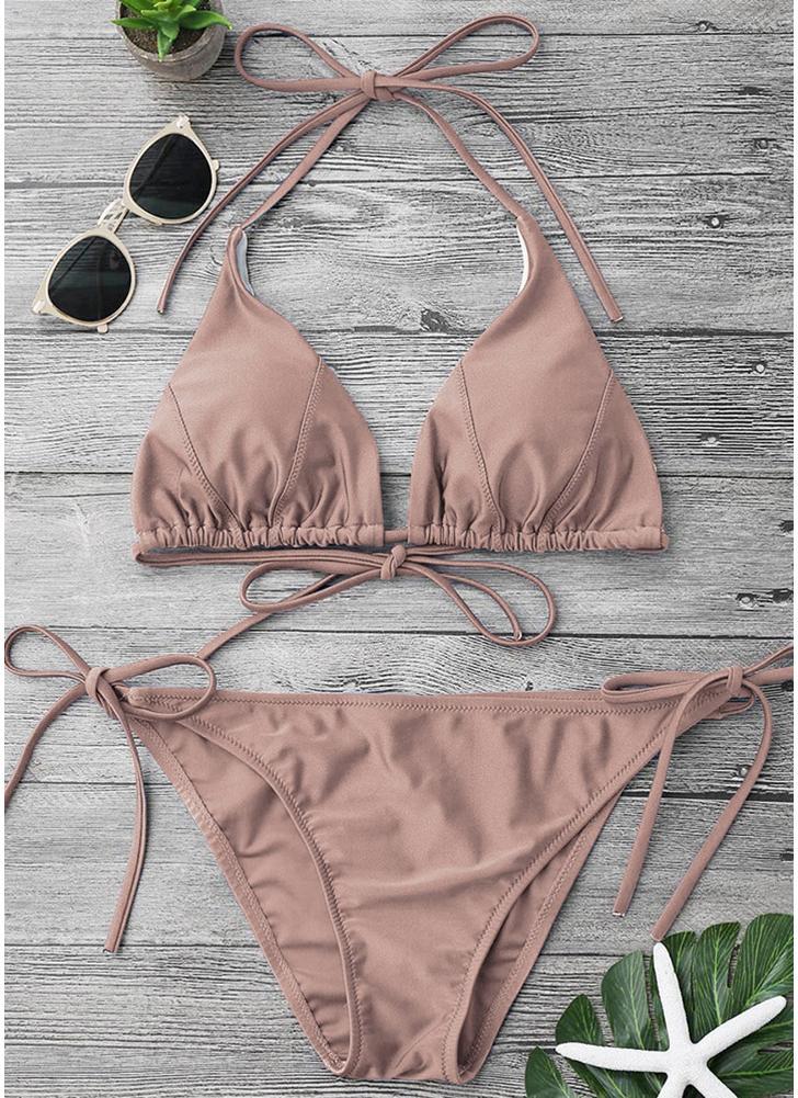Cor sólida Halter Bandage Tie Bikini Set