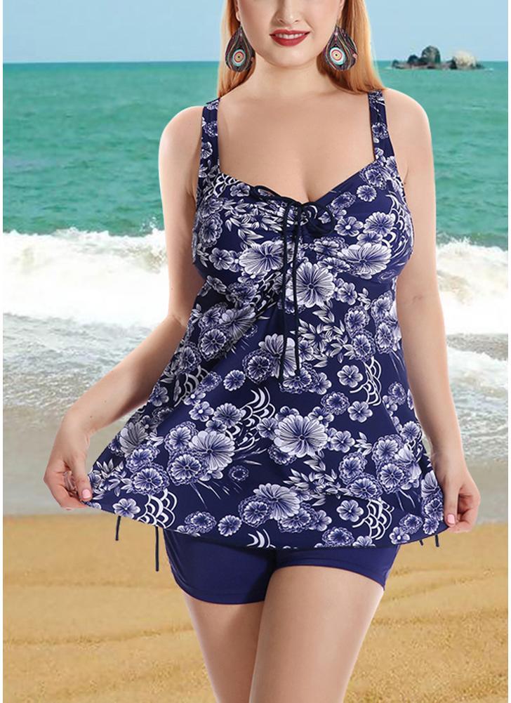 Plus Size Floral Print Drawstring Front Sides Bikini Set