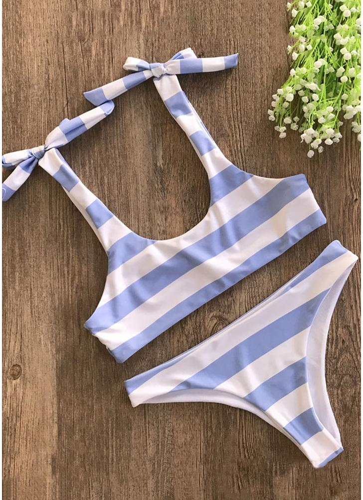 Striped Print Bow Top Bottom Bikini Set