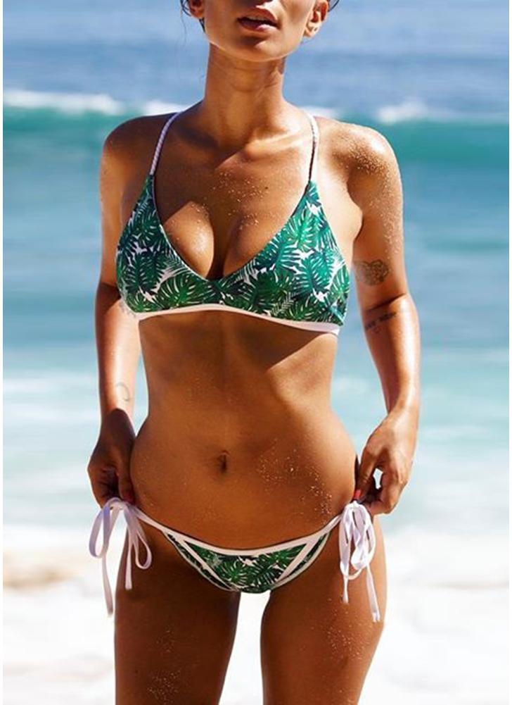 Femmes Strappy Imprimer Bikini Set Backless Maillots de bain Maillot de bain plage maillot de bain