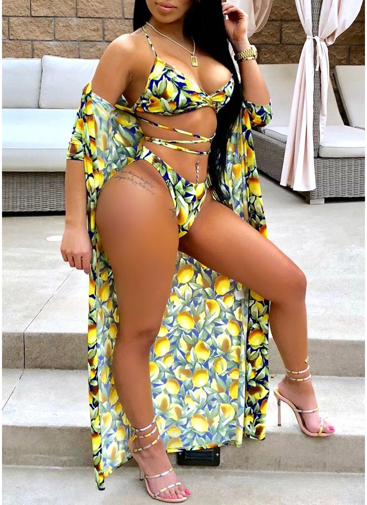 Mulheres Sexy Bikini Set Cover-Up Floral Imprimir Halter Bandage Padding Swimwear Praia Desgaste de Três Peças Amarelo