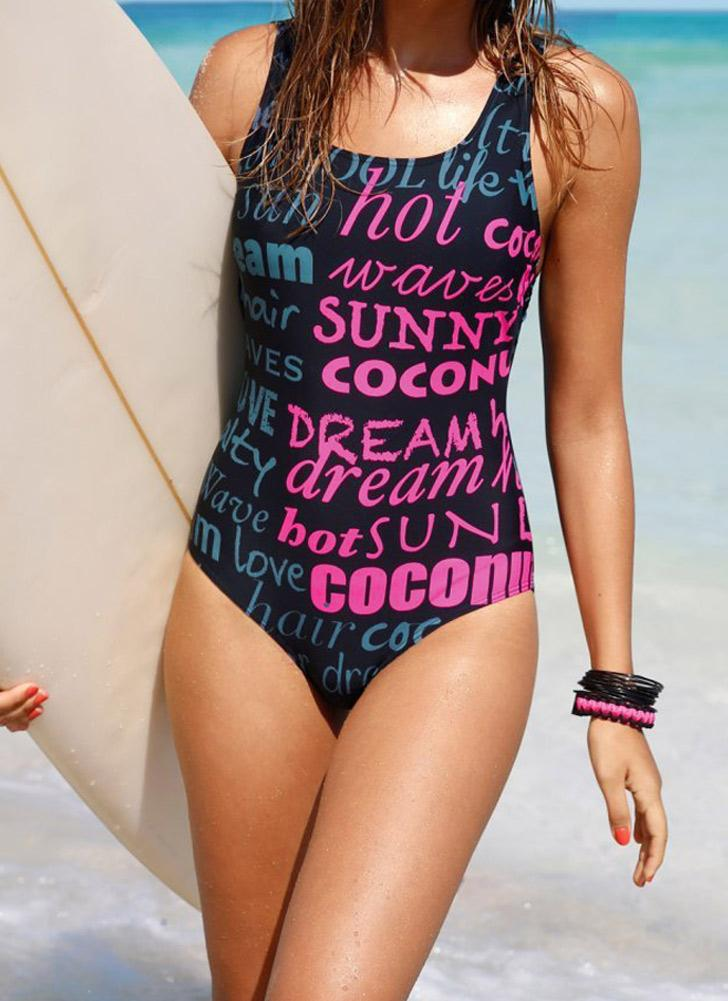 Letter Print Cut Out Back Padded Wireless One Piece Swimsuit