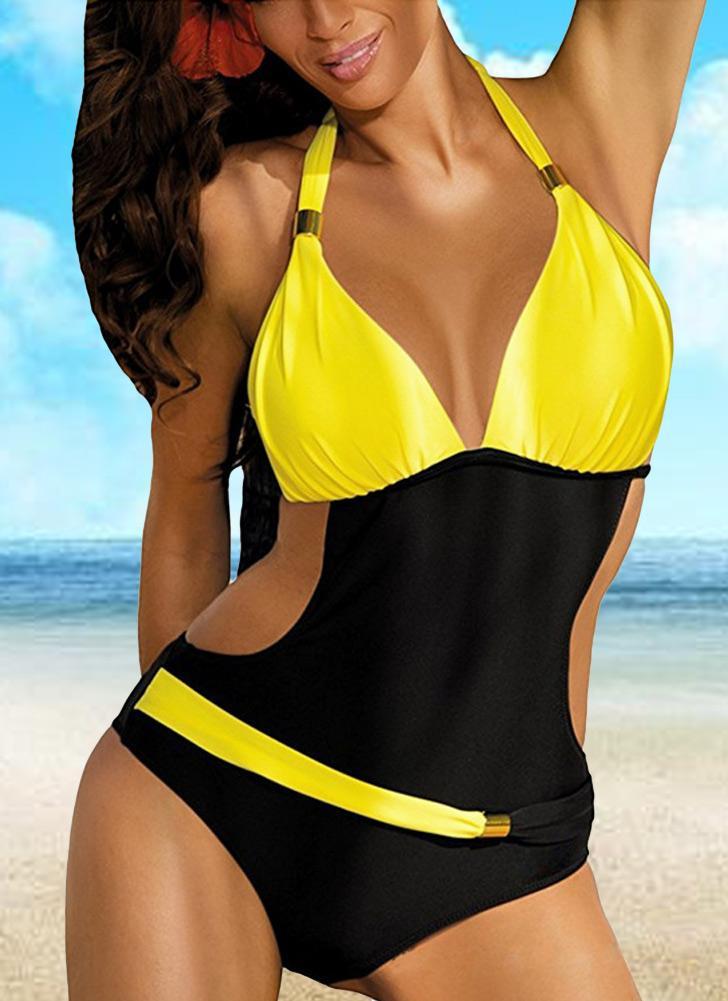 Новые сексуальные женщины Цельный купальник контраст Цвет Блок Холтер Backless Пляж Купальники Купальники