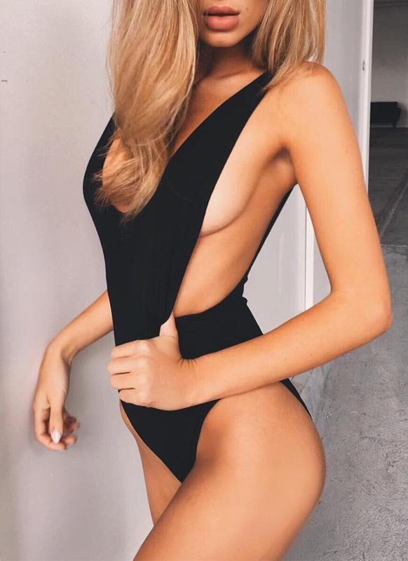 Plunge V Backless One Piece Swimsuit
