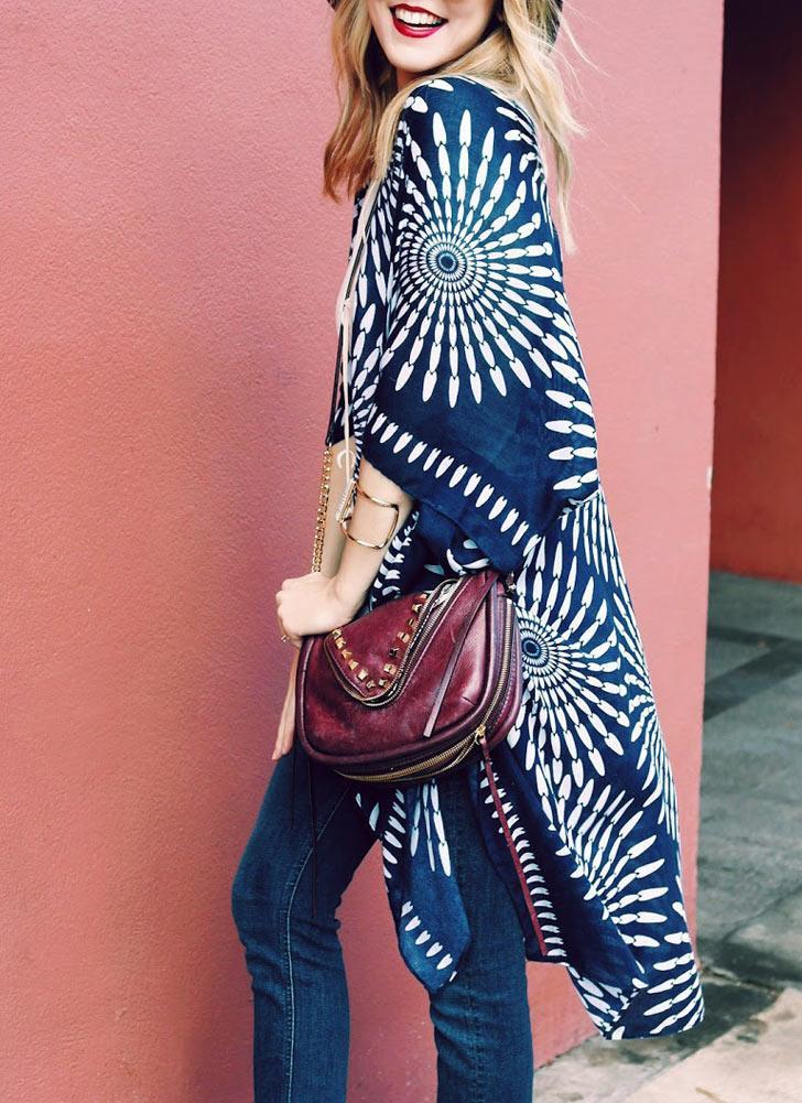Fashion Summer Vintage Cardigan Geometry Imprimer Kimono Femme