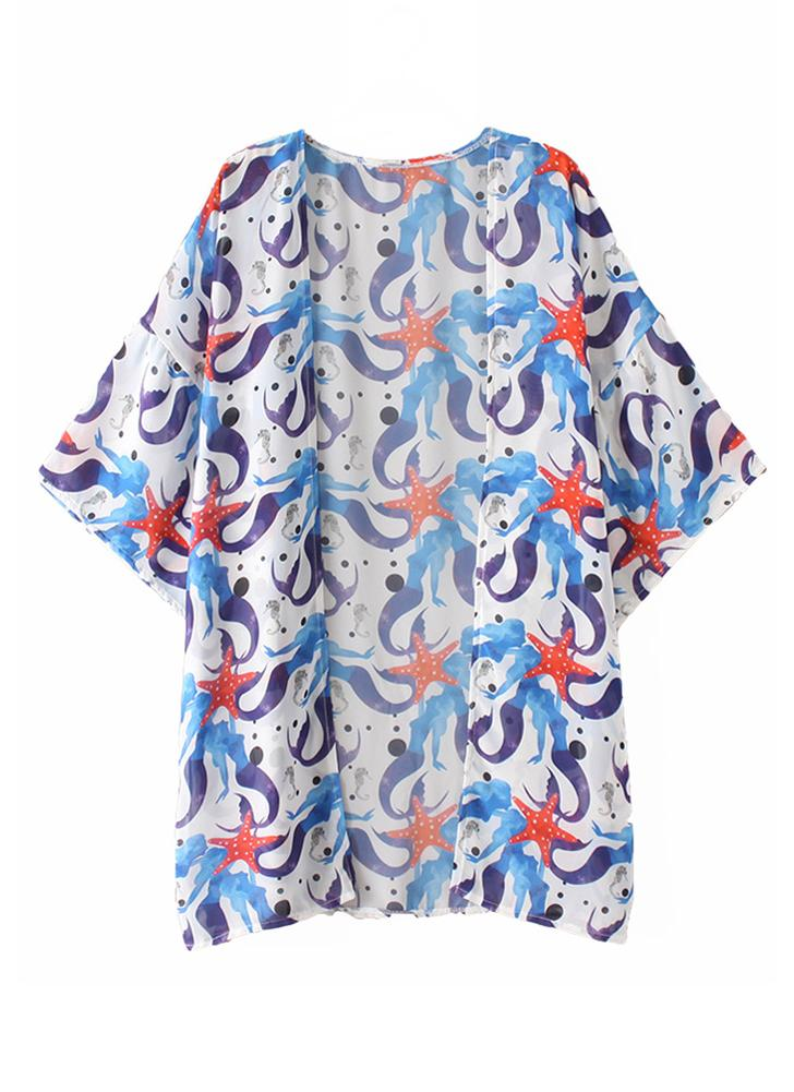 Mulheres Chiffon Beach Kimono Mermaid Print Casal de férias no mar