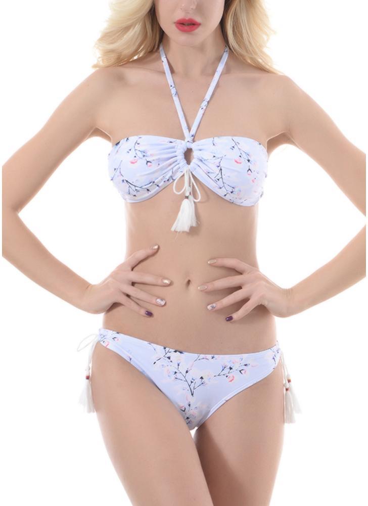 Sexy Women Bikini Set Swimsuit Swimwear Tie Halter Keyhole Tassel acolchoado Two Piece Bathing Suit Beachwear
