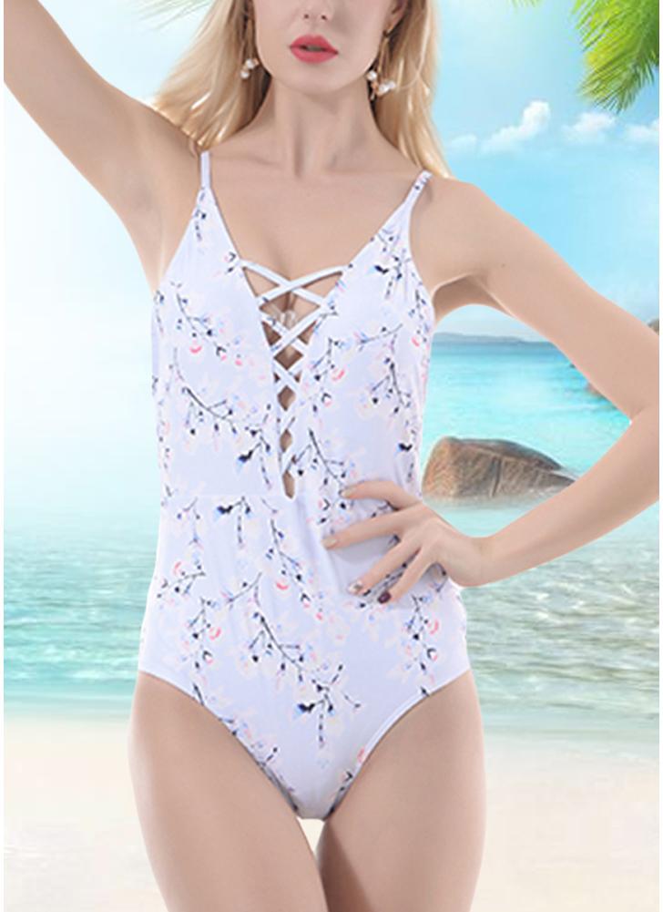 Mulheres One Piece Bikini Floral Print Bandage Monokini Swimsuits