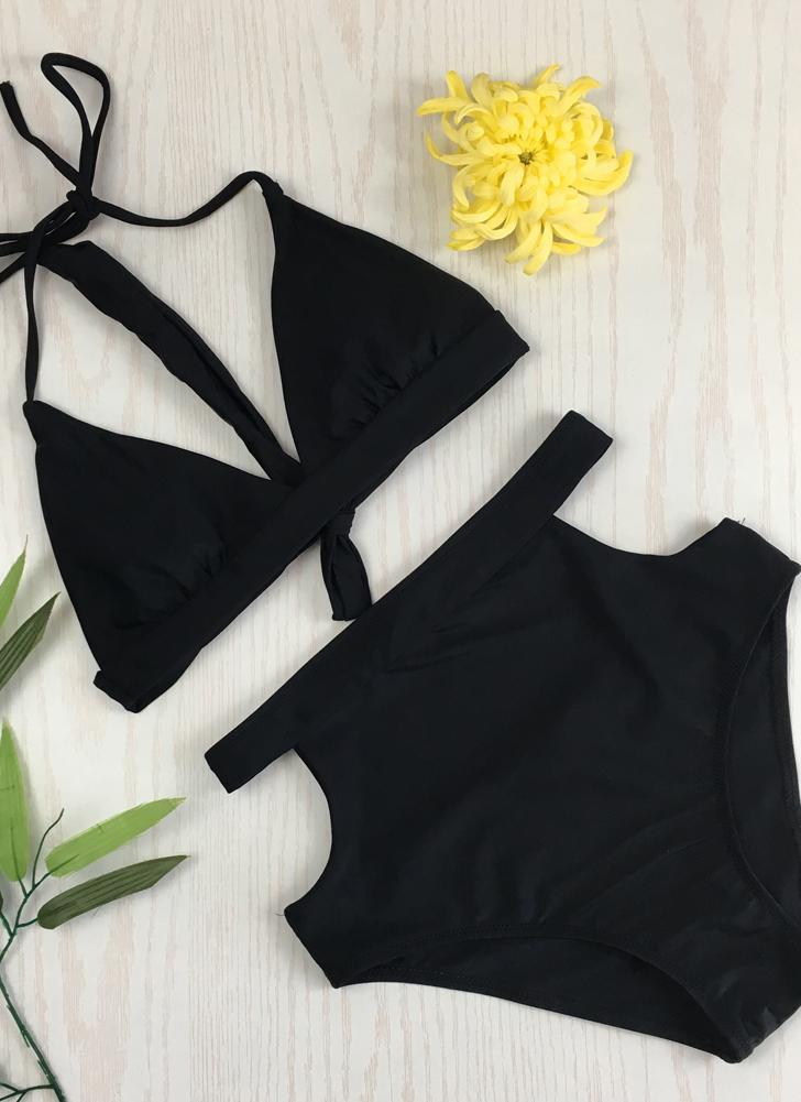 Ensemble de bikini à encolure en V à bretelles taille haute pour femmes sexy