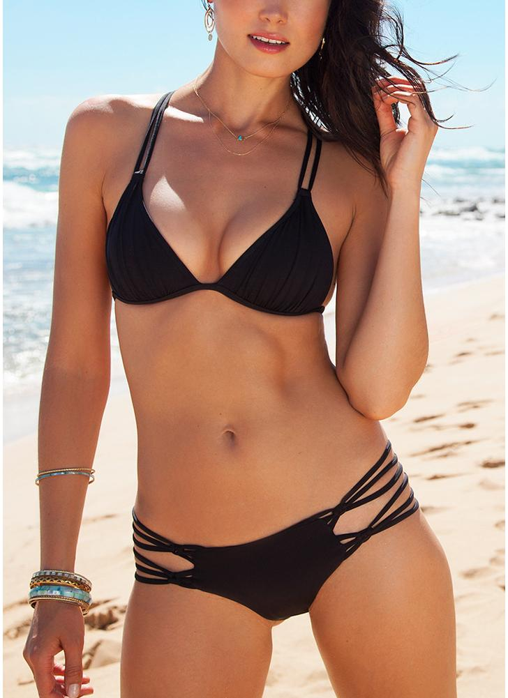 Mulheres Solid Triangle Lace Up Bandage Strappy Braided Padded Backless Bikini Set