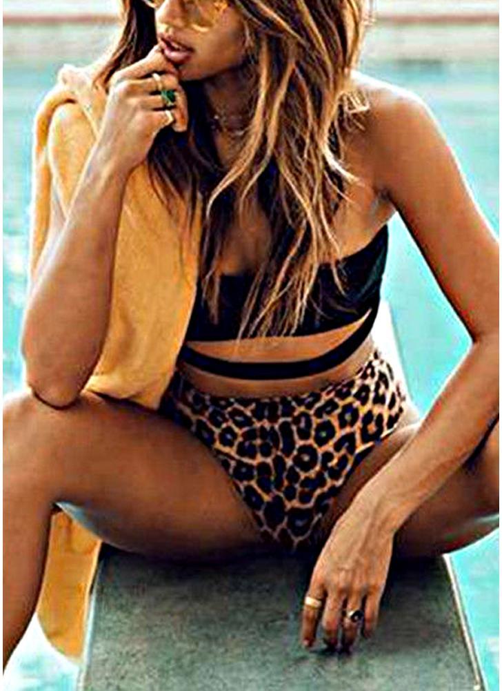 Sexy Frauen Leopardenmuster Halfter Ausschnitt Hohe Taille Bikini Set