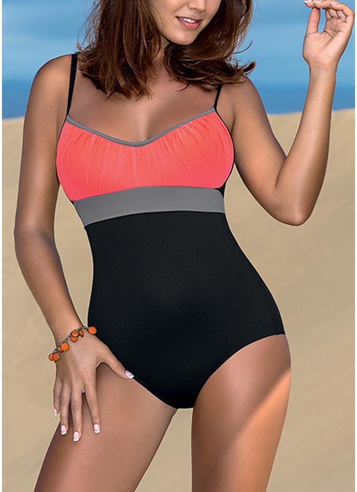 4be95d2297685 black l Women One Piece Bikini Swimwear Bodysuit Color Splice Bandage Beach  Wear Bikini Swimsuit Batching Suit - Chicuu