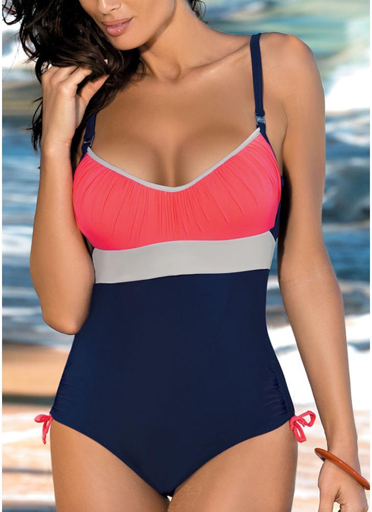 dunkelblau s frauen einteiliger bikini badebekleidungs bodysuit farben splei verband strand. Black Bedroom Furniture Sets. Home Design Ideas