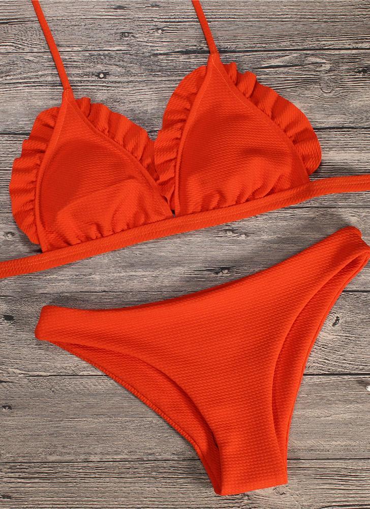 Costume da bagno donna Push Up Costume da bagno intero Swimsuit Ruffle a  vita bassa Imbottito b01e410c924