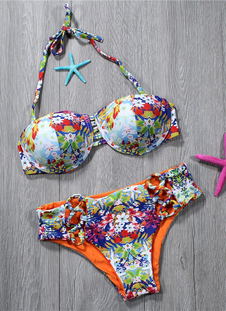 Women Two Piece Bikini Set Colorful Floral Print Halter Padded Bandage Hollow Out Low Waist Sexy Swimsuit