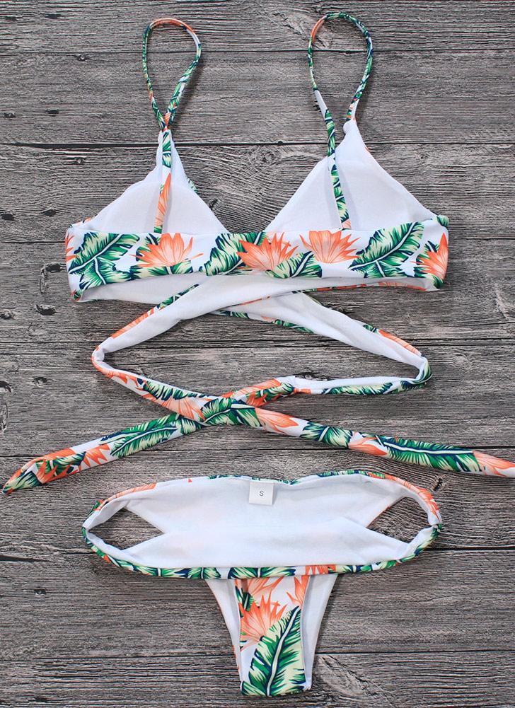 Sexy Frauen Bikini Set Blätter Print Padded Top Bottom Verband Strand Bademode Badeanzug Badeanzug