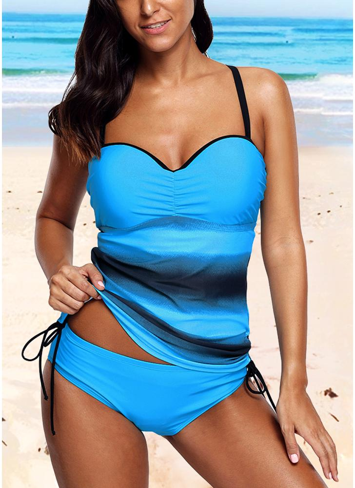 Moda Mulheres Strappy Tankini Conjunto de biquíni Leopard Print Baixa cintura Thong Two Pieces Swimsuit Swimwear