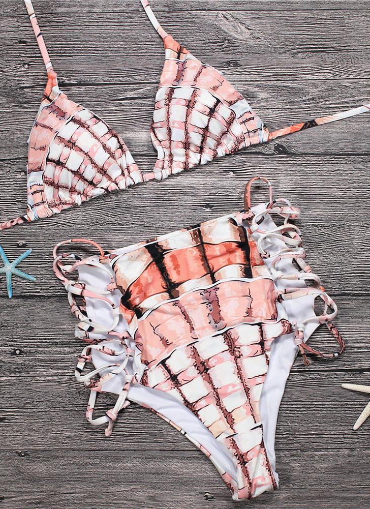Bikini a due pezzi da donna Halter Plaid Stampa imbottita con fasciatura Criss Over a vita alta Costume da bagno sexy