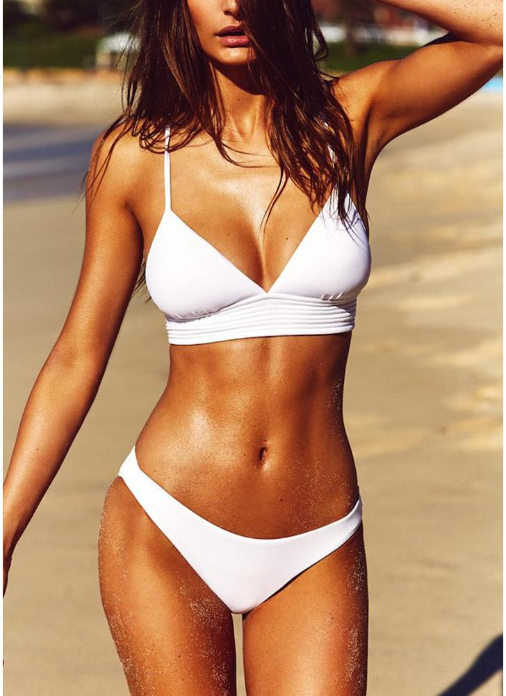 Sexy Women Strappy Bikini Set Deep V-Neck Tie Back Low Waist Swimwear Swimsuit Beach Bathing Suit White