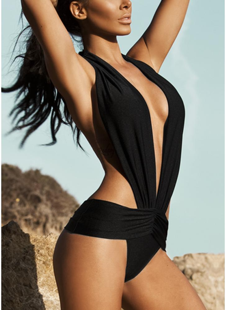 f60f2cc7e7 black m Sexy Women Swimsuit Deep V Halter Backless Swimwear Beach Playsuit  Jumpsuit Rompers - Chicuu