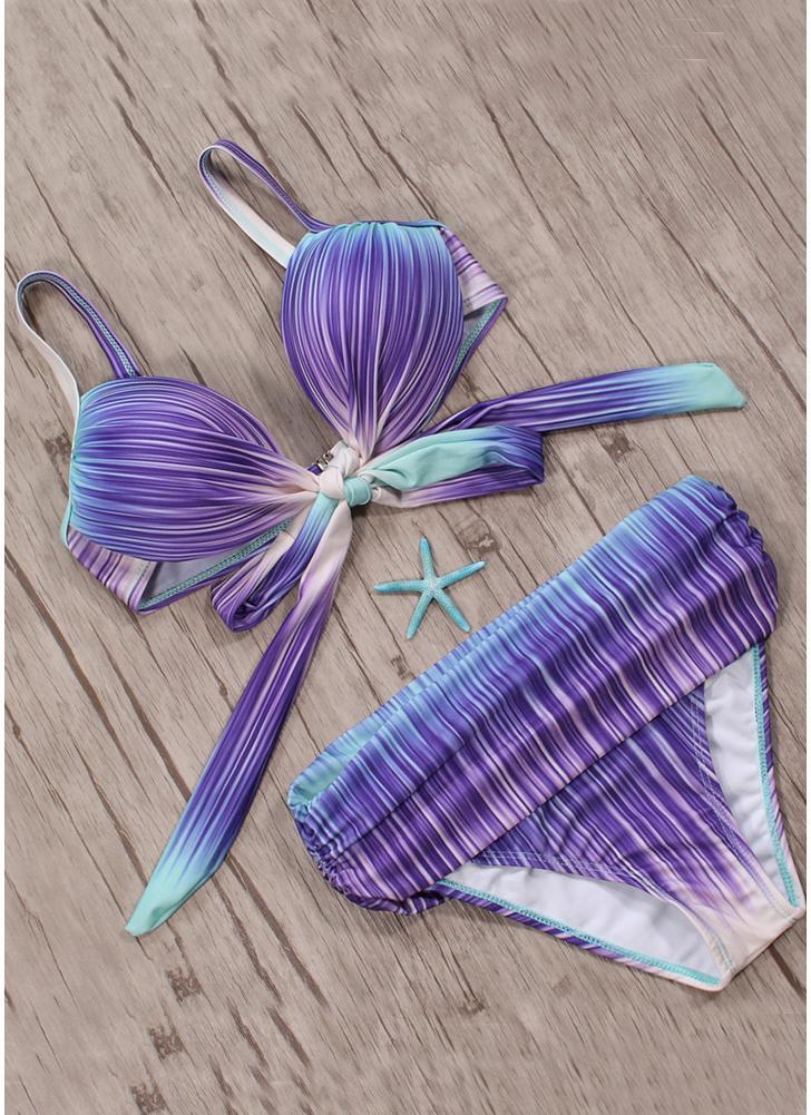 Sexy Frauen Farbverlauf gedruckt Krawatte Knoten Bikini Set