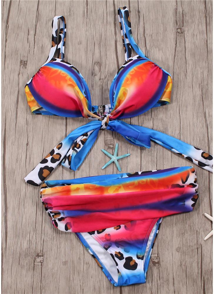 Conjunto de bikini de nudo con lazo estampado degradado para mujer