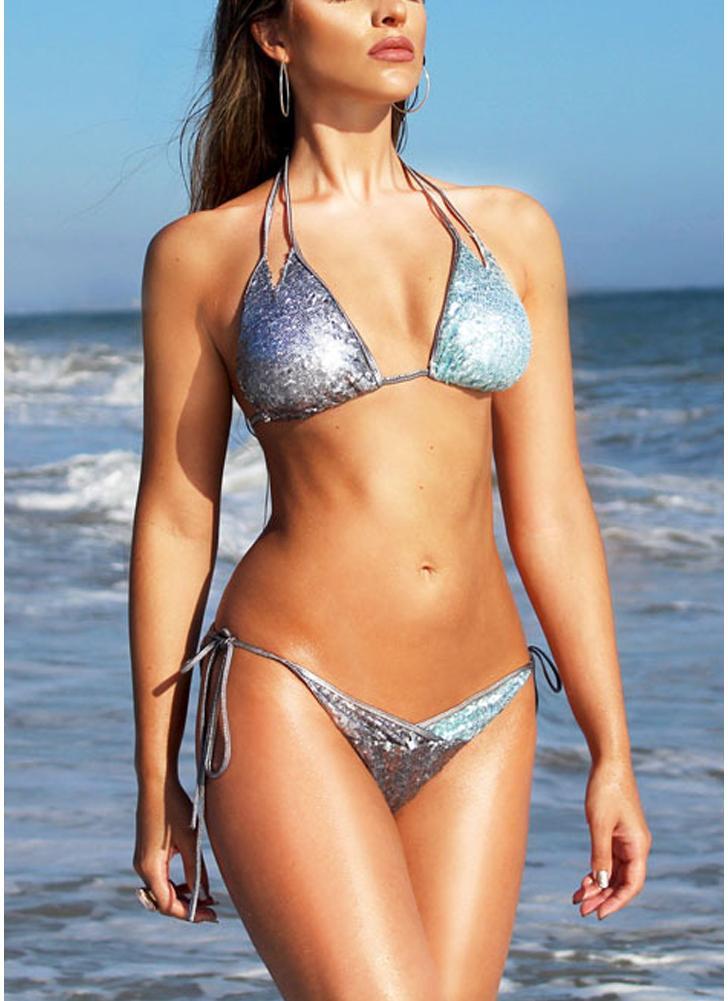 Women Sequin Double Strap Halter Bikini Set Tie Waist