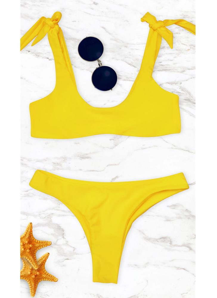 Frauen-Bikini-Set gebunden Bow gepolsterte Wireless Low Waist Solid Zweiteiler