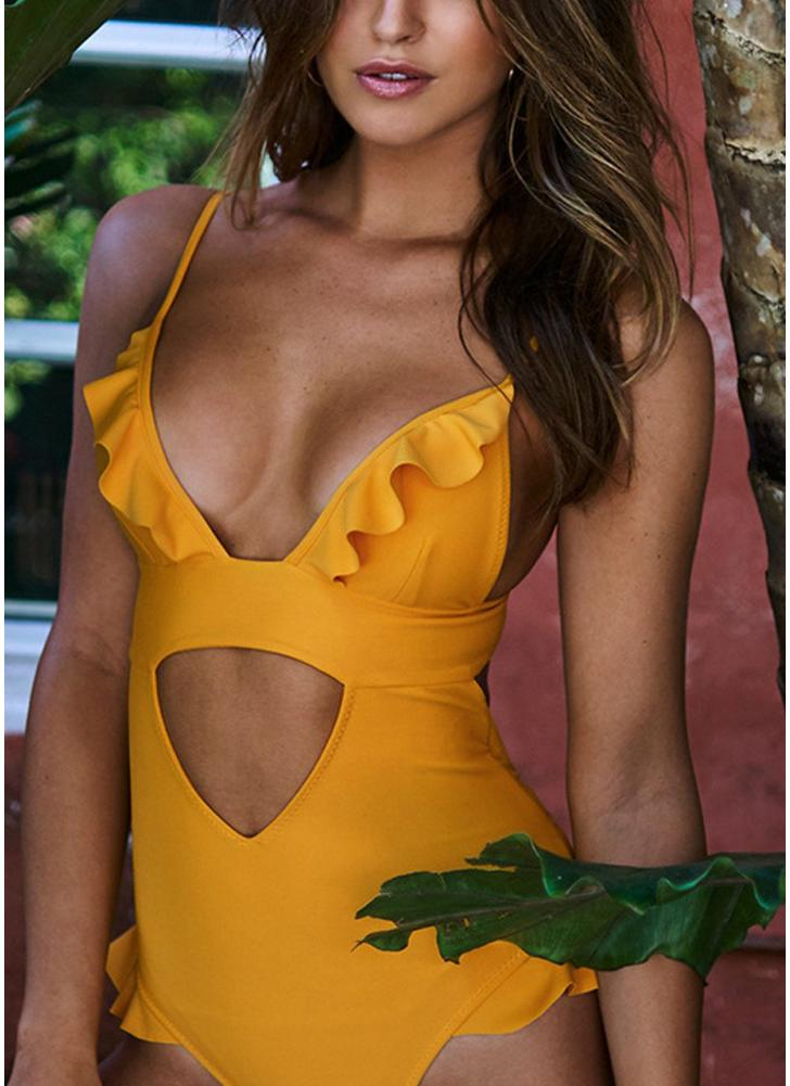 Mulheres Ruffle One Piece Swimsuit Cutout Backless Adjuastable Strap Padding