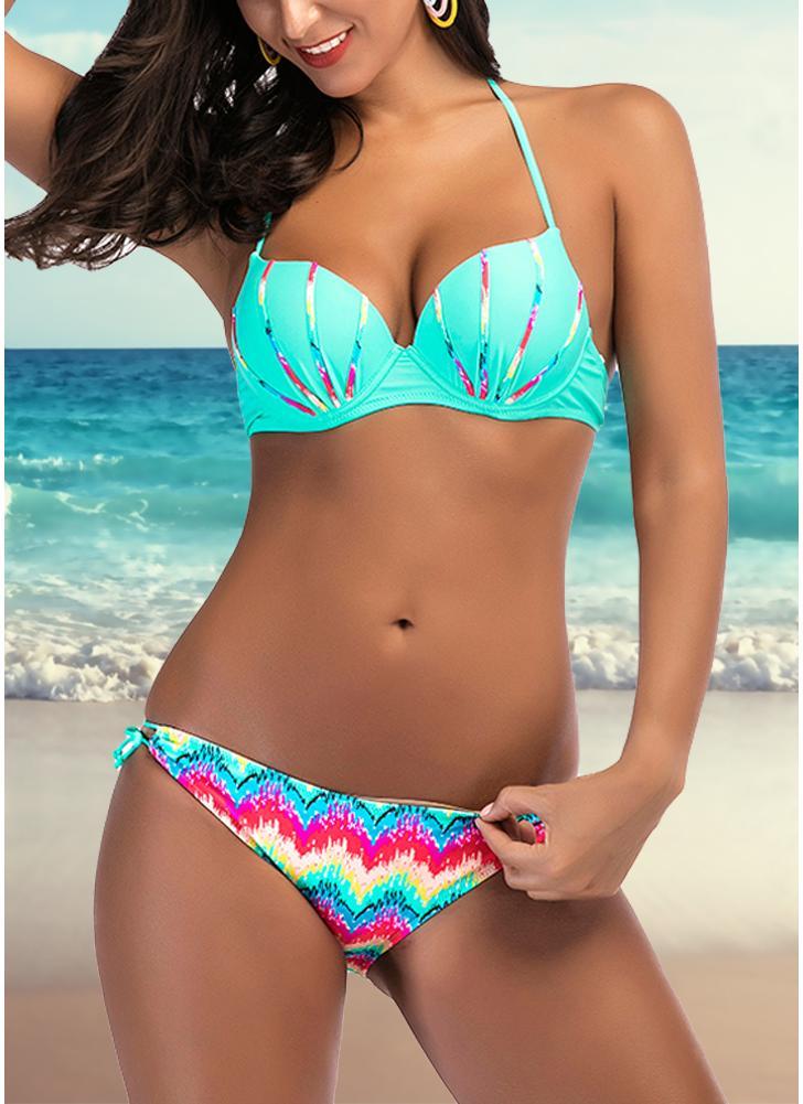 Conjunto de biquíni feminino Colorful Print Underwire Top Bottom Swimwear Swimsuit Bathing Suit