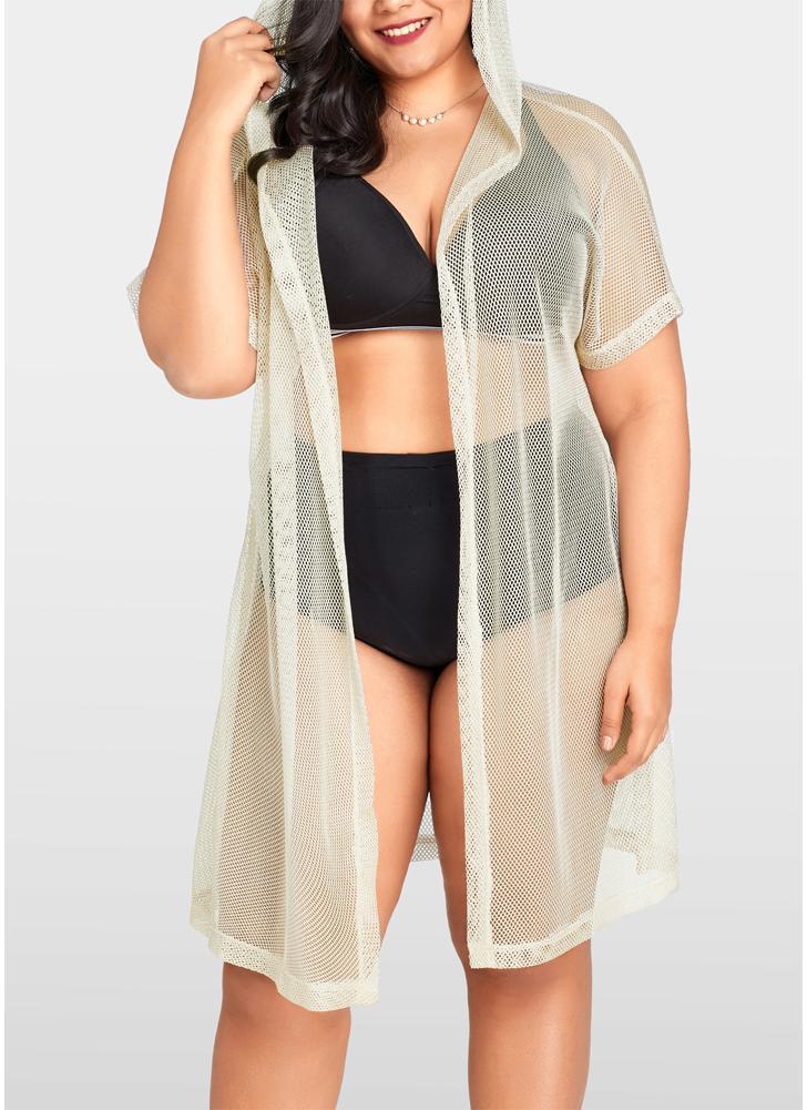 Femmes Bikini Cover Up Fishnet Cardigan à capuche Plus la taille Vêtements de plage