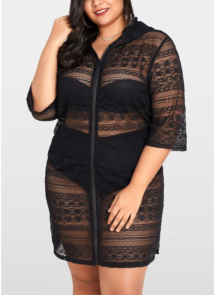 Black Xxl Women Plus Size See Through Cover Ups Floral Lace Hooded