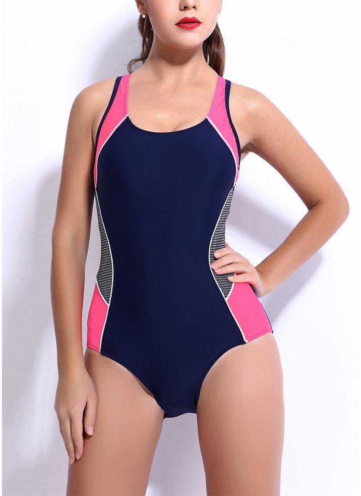 Women One-piece Swimsuit Contrast Color Block Sporty Monokini Swimwear  Bathing Suit c12b25140