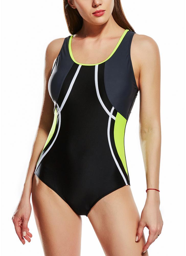 Costume da bagno intero sportivo da donna Racer con ricamo posteriore imbottito in contrasto