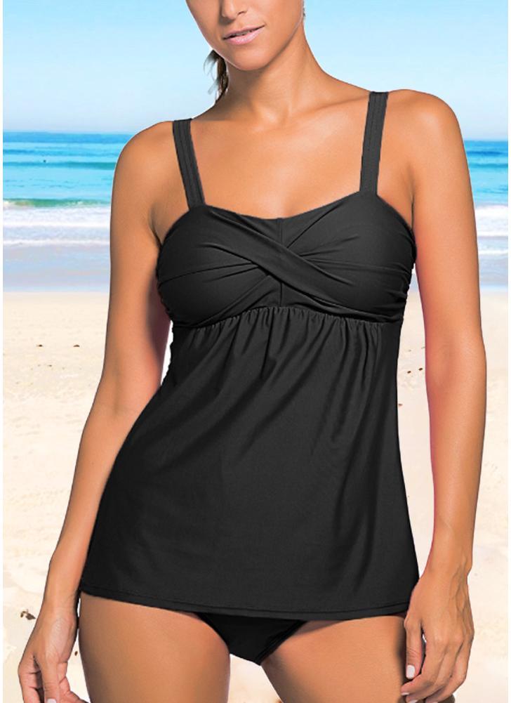Women Push Up Tankini Set Padding sem fio de baixa cintura Beach Bathing Swimwear